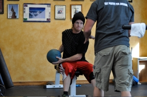 Keeping Tanner Seated Reduces Interference with the Physical Therapy on his Repaired Knee(s)